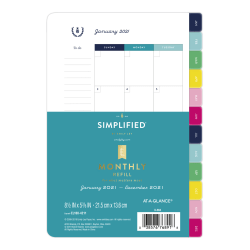 "Emily Ley Simplified System Monthly Refill, 5-1/2"" x 8-1/2"", Black/White, January To December 2021, EL100-4211"