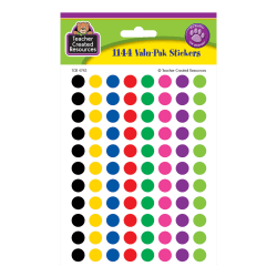 """Teacher Created Resources Mini Stickers, 3/8"""", Colorful Circles, Pre-K - Grade 12, Pack Of 1,144"""