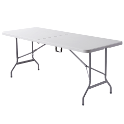 "Realspace® Molded Plastic Top Folding Table with Handles, 29""H x 72""W x 29-1/4""D, Platinum/Charcoal"