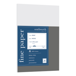 Southworth® 100% Cotton Business Paper, Letter Paper Size, 32 Lb, Gray, Pack Of 50 Sheets