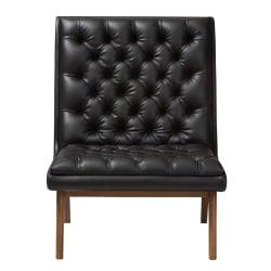 Baxton Studio Yasin Lounge Chair, Black/Walnut