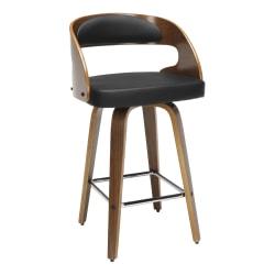 OFM 161 Collection Mid-Century Modern Bentwood Swivel Stool, Walnut/Black
