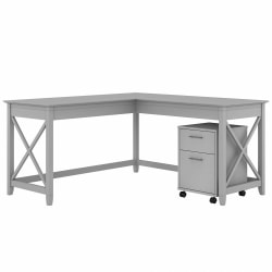 """Bush Furniture Key West 60""""W L-Shaped Desk With 2-Drawer Mobile File Cabinet, Cape Cod Gray, Standard Delivery"""