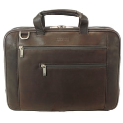 """Kenneth Cole Reaction Colombian Leather Laptop Portfolio With 17"""" Laptop Pocket, Brown"""