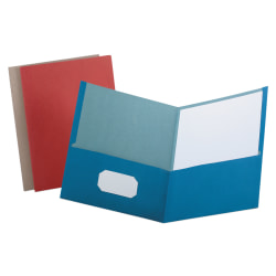 Earthwise® by Oxford™ Twin-Pocket Folder, 100% Recycled, Assorted Colors, Box Of 25