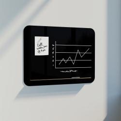U Brands Magnetic Black Glass  Dry Erase Board Frameless, 36x24