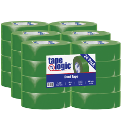 """Tape Logic® Color Duct Tape, 3"""" Core, 2"""" x 180', Green, Case Of 24"""