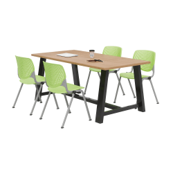 KFI Studios Midtown Table With 4 Stacking Chairs, Kensington Maple/Lime Green