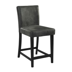 "Linon Home Decor Products Baker 24"" Counter Stool, Black/Charcoal"