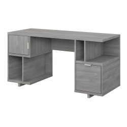 "kathy ireland® Home by Bush Furniture Madison Avenue 60""W Computer Desk With Drawer/Storage Shelves/Door, Modern Gray, Standard Delivery"