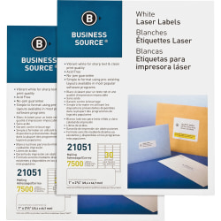 "Business Source Bright White Premium-quality Address Labels - Permanent Adhesive - 1"" Width x 2 5/8"" Length - Rectangle - Laser, Inkjet - White - 30 / Sheet - 250 Total Sheets - 15000 / Carton"