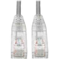 Tripp Lite Cat6 UTP Patch Cable (RJ45) - M/M, Gigabit, Snagless, Molded, Slim, Gray, 8 in. - First End: 1 x RJ-45 Male Network - Second End: 1 x RJ-45 Male Network - 1 Gbit/s - Patch Cable - Gold Plated Contact - 28 AWG - Gray
