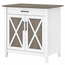 Bush Furniture Key West Secretary Desk With Keyboard Tray And Storage Cabinet, Shiplap Gray/Pure White, Standard Delivery