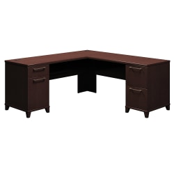 "Bush Business Furniture Enterprise L Shaped Desk, 72""W, Mocha Cherry, Standard Delivery"