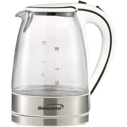 Brentwood 1.7L Borosilicate Glass Tea Kettle, White, KT-1900W