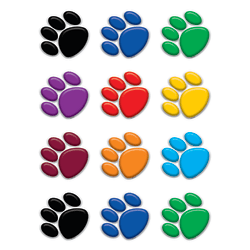 Teacher Created Resources Mini Accents, Colorful Paw Prints, Pack Of 36