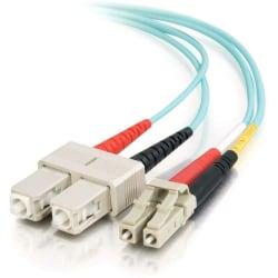 C2G 9m LC-SC 10Gb 50/125 OM3 Duplex Multimode PVC Fiber Optic Cable (USA-Made) - Aqua - Fiber Optic for Network Device - LC Male - SC Male - 10Gb - 50/125 - Duplex Multimode - OM3 - 10GBase-SR, 10GBase-LRM - USA-Made - 9m - Aqua