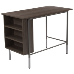 "Flash Furniture 40""W Computer Desk With Side Storage Shelves, Light Applewood"
