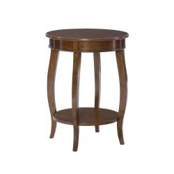 """Powell Nora Round Side Table With Shelf, 24"""" x 18"""", Hazelnut"""