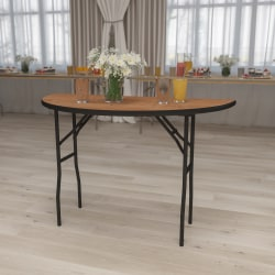 "Flash Furniture Half-Round Folding Banquet Table, 30-1/4""H x 48""W x 24""D, Natural/Black"