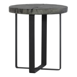 "Powell Kirby Round Side Table, 22"" x 20"", Gray/Matte Black"
