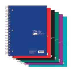"""Office Depot® Brand Wirebound Notebook, 3-Hole Punched, 8"""" x 10 1/2"""", 5 Subjects, Wide Ruled, 180 Sheets, Assorted Colors (No Color Choice)"""