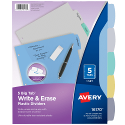 "Avery® Durable Write-On Plastic Dividers With Erasable Tabs, 8 1/2"" x 11"", Multicolor, 5 Tabs"