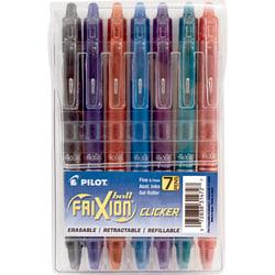 Pilot® FriXion Clicker Erasable Gel Pens, Fine Point, 0.7 mm, Assorted Barrels, Assorted Ink Colors, Pack Of 7