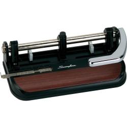 Swingline® Heavy Duty Adjustable 3-Hole Punch, Black/Faux Woodgrain
