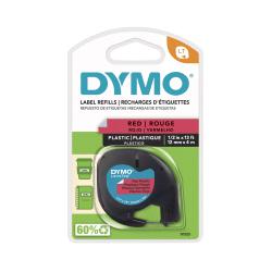 "DYMO® LetraTag Plastic Label, 1/2"" x 13', Black On Red"