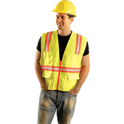 Non-ANSI Contractor Style Solid Vests, 2X-L, Hi-Viz Yellow; Orange Contrast Trim
