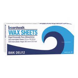 "Boardwalk® Interfold-Sheet Deli Paper, 10 3/4"" x 12"", White, 500 Sheets Per Box, Carton Of 12 Boxes"