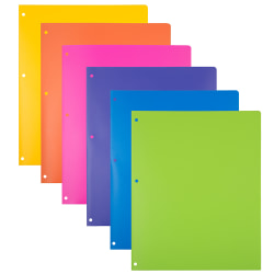 """JAM Paper® Heavy-Duty 3-Hole Punched Plastic Presentation Folders, 9-1/2"""" x 11-1/2"""", Assorted Fashion, Pack Of 6 Folders"""