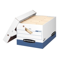 "Bankers Box® Presto™ Heavy-Duty Storage Boxes With Locking Lift-Off Lids And Built-In Handles, Letter/Legal Size, 15"" x 12"" x 10"", 60% Recycled, White/Blue, Case Of 4"