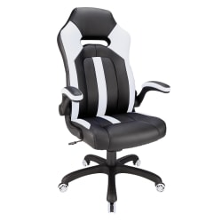 Realspace® Bonded Leather High-Back Gaming Chair, Black/White