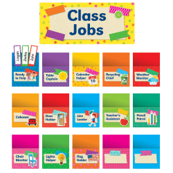 Scholastic Teacher's Friend Tape It Up! Class Jobs Bulletin Board Set, Pre-K To Grade 6