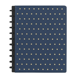 TUL® Discbound Notebook, Letter Size, Narrow Ruled, 120 Pages (60 Sheets), Navy Blue/Gold