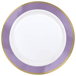 "Amscan Plastic Plates, 10-1/4"", White/Lavender, Pack Of 10 Plates"