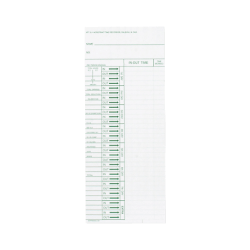 "Acroprint Weekly Time Cards For Acroprint ATT 310 Totaling Time Recorder, 10"" x 4"", White/Green, Pack Of 200"