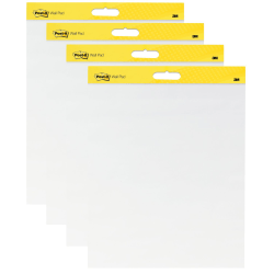 "Post-it® Super Sticky Wall Easel Pads, 20"" x 23"", White Paper, Pack Of 4 Pads"