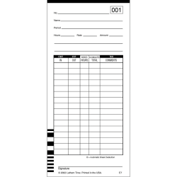 """Lathem Time Cards, Numbered 1-100, 2-Sided, 3 3/8"""" x 7 1/4"""", Pack Of 100"""