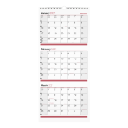 "Office Depot® 3-Month Monthly Wall Calendar, 12"" x 27"", White, January To December 2021, OD303028"