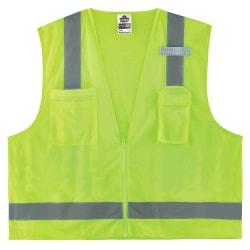 Ergodyne GloWear® Safety Vest, Economy Surveyor's 8249Z, Type R Class 2, 2X/3X, Lime
