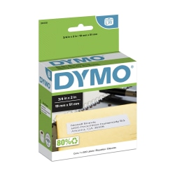 "DYMO® LabelWriter® 30330 White Return Address Labels, 3/4"" x 2"", Box Of 500"