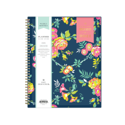 """Blue Sky™ Day Designer Academic Weekly/Monthly CYO Planner, 8-1/2"""" x 11"""", Peyton Navy/Gold Foil, July 2020 To June 2021, 107924-A"""