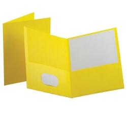 Oxford™ Twin-Pocket Portfolios, Yellow, Pack Of 10