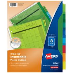 Avery® Big Tab™ Insertable Plastic Dividers, Multicolor, 8-Tab