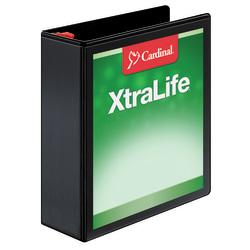 """Cardinal® XtraLife® Locking Slant-D® Ring Binder, 3"""" Rings, 55% Recycled, Black"""