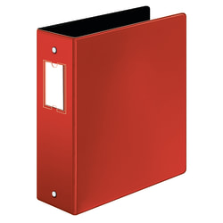 "Cardinal® EasyOpen™ 3-Ring Binder With Premier Locking Rings, 3"" Round Rings, 60% Recycled, Red"