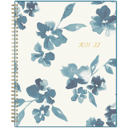"""Blue Sky™ Weekly/Monthly Planning Calendar, 8-1/2"""" x 11"""", Bakah Blue Frosted, July 2021 To June 2022, 131951"""